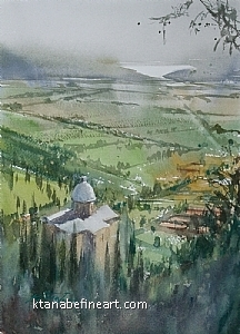 Cortona, Italy VI by Keiko Tanabe Watercolor ~ 11 1/2 x 8 1/4 inches (29 x 21 cm)