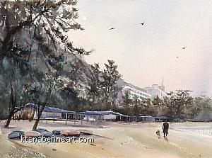 Awajishima (Sumoto), Hyogo, Japan IV by Keiko Tanabe Watercolor ~ 11 1/2 x 15 1/2 (29 x 39 cm)