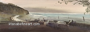 Torrey Pines Beach, San Diego VIII by Keiko Tanabe Watercolor ~ 10 1/4 x 28 3/4 inches (26 x 73 cm)