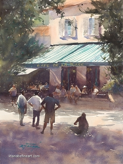 P�tanque (Saint-Paul de Vence, France) IV by Keiko Tanabe Watercolor ~ 15 1/2 x 11 1/2 inches (39 x 29 cm)