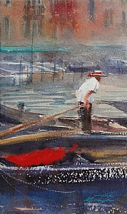 Gondolier, Venice, Italy XI by Keiko Tanabe Watercolor ~ 10 x 6 inches (25 x 15 cm)