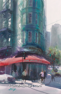 La Jolla Shores San Diego II by Keiko Tanabe Watercolor ~ 21 1/2 x 14 1/4 inches (54.5 x 36 cm)