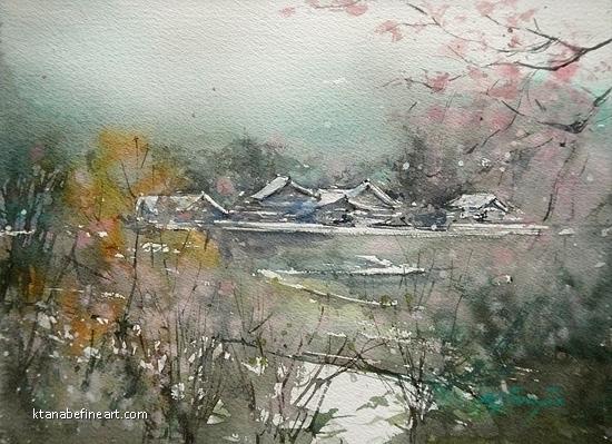 Sakura III by Keiko Tanabe Watercolor ~ 8 1/4 x 11 1/2 inches (21 x 29 cm)
