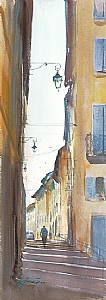 Le Panier, Marseille, France I by Keiko Tanabe Watercolor ~ 29 x 10 1/4 inches (74 x 26 cm)