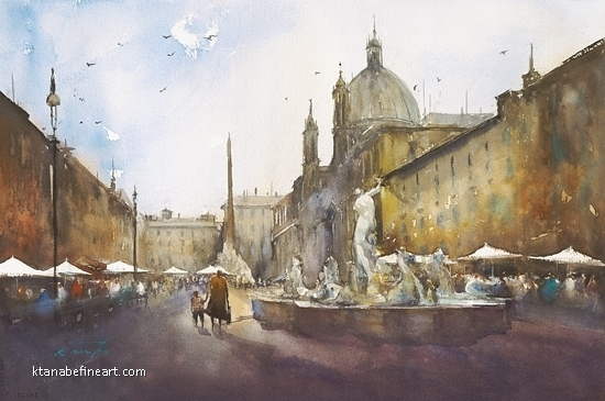 Roma, Italia XL by Keiko Tanabe Watercolor ~ 14 1/4 x 21 1/2 inches (36 x 54.5 cm)