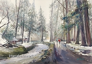 Road to Eiheiji Temple, Fukui, Japan IX by Keiko Tanabe Watercolor ~ 20 1/4 x 28 3/4 inches (51 x 73 cm)