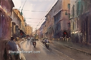 Milano, Italy XI by Keiko Tanabe Watercolor ~ 14 1/4 x 21 1/2 inches (36 x 54.5 cm)