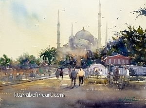 Istanbul, Turkey I (Blue Mosque) by Keiko Tanabe Watercolor ~ 11 1/2 x 15 1/2 inches (29 x 39 cm)