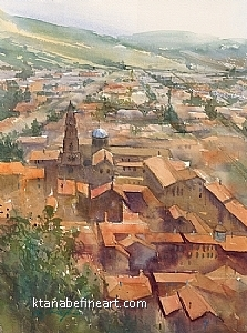 Le Puy-en-Velay, France I by Keiko Tanabe Watercolor ~ 15 1/2 x 11 1/2 inches (39 x 29 cm)