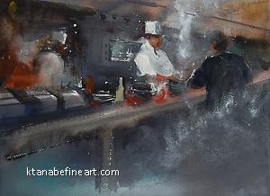 Kitchen (Seoul, Korea) I by Keiko Tanabe Watercolor ~ 8 1/4 x 11 1/2 (21 x 29 cm)