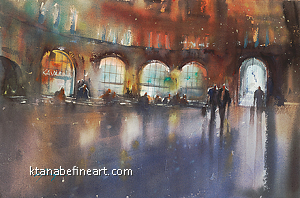Praha Caf� II by Keiko Tanabe Watercolor ~ 14 1/4 x 21 1/2 inches (36 x 54.5 cm)