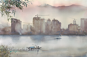 Tonglu, China I by Keiko Tanabe Watercolor ~ 14 1/4 x 21 1/2 inches (36 x 54.5 cm)