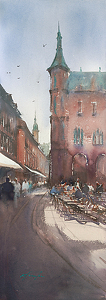 Heidelberg, Germany II by Keiko Tanabe Watercolor ~ 29 x 10 inches (74 x 25 cm)