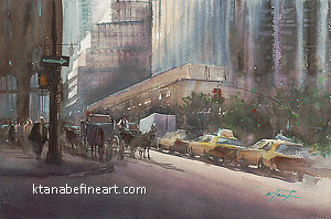 New York City II by Keiko Tanabe Watercolor ~ 14 1/4 x 21 1/2 inches (36 x 54.5 cm)