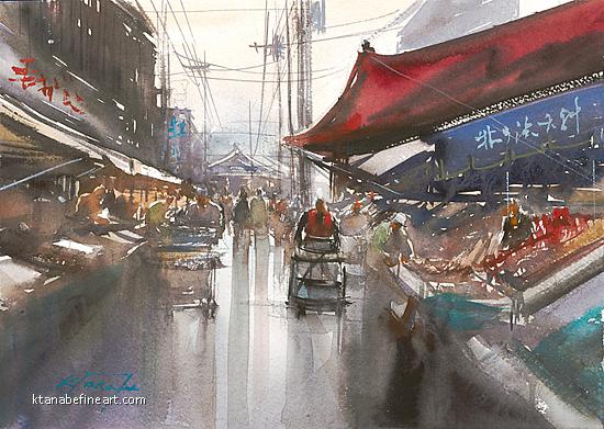 Hakodate Fish Market, Hokkaido, Japan I by Keiko Tanabe Watercolor ~ 8 1/4 x 11 1/2 (21 x 29 cm)