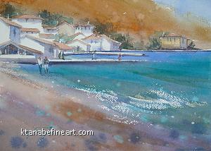 Bozcaada, Turkey I by Keiko Tanabe Watercolor ~ 8 1/4 x 11 1/2 (21 x 29 cm)