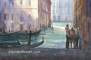 Afternoon Venice Italy II by Keiko Tanabe Watercolor ~ 14 1/4 x 21 1/2 inches (36 x 54.5 cm)