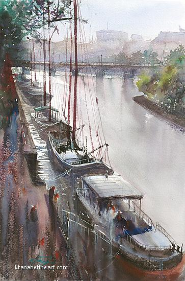 La Seine, Paris V by Keiko Tanabe Watercolor ~ 21 1/2 x 14 1/4 inches (54.5 x 36 cm)