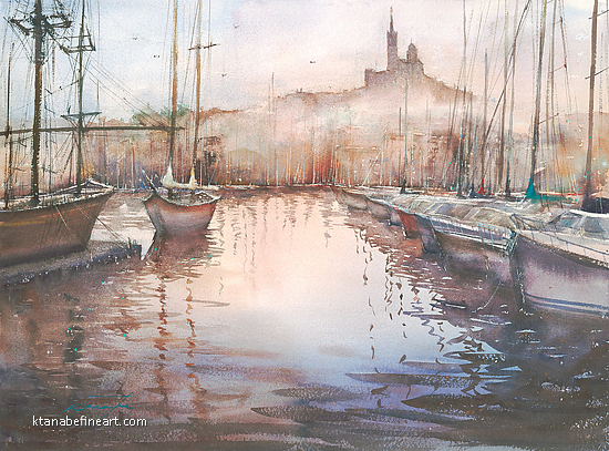 Marseille Vieux Port, France V by Keiko Tanabe Watercolor ~ 21 x 29 inches (53 x 74 cm)