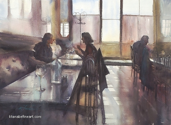 Caf� des Arts II by Keiko Tanabe Watercolor ~ 21 x 29 inches (53 x 74 cm)
