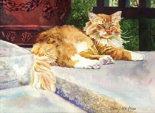 Afternoon Ritual by SUSAN J ATKINSON Watercolor ~ 5 x 7