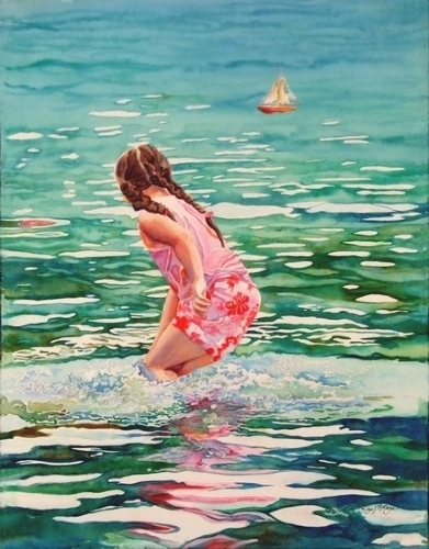 Summer Splash by SUSAN J ATKINSON Watercolor ~ 15.5 x 12