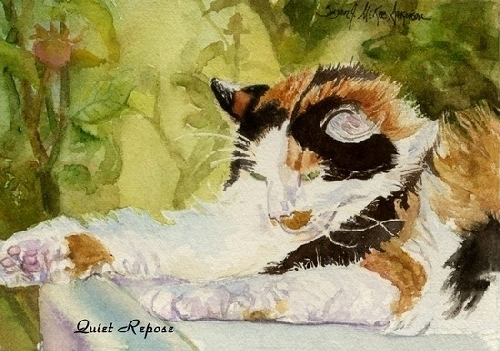 Quiet Repose by SUSAN J ATKINSON Watercolor ~ 5 x 7