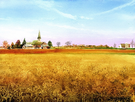 I CAN STILL SEE THE STEEPLE by SUSAN J ATKINSON Watercolor ~ 11 x 15