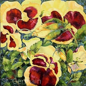 "Pansy Profusion by Mary St. Germain Oil ~ 30"" x 30"""