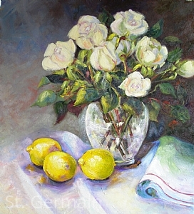 Roses and Lemon by Mary St. Germain Oil ~  x