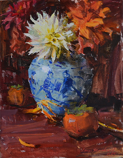 Dalhias in  Oriental Pot - Oil