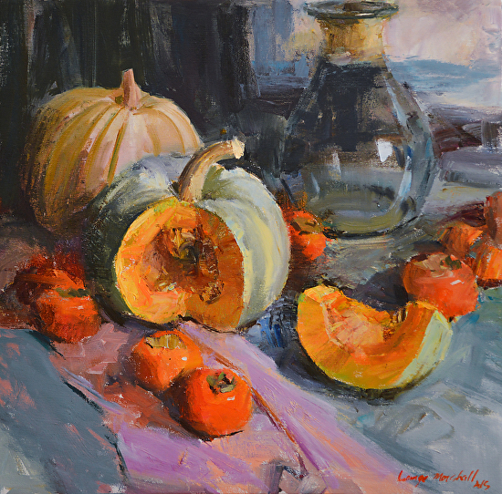 White Pumpkins and Persimmons - Oil
