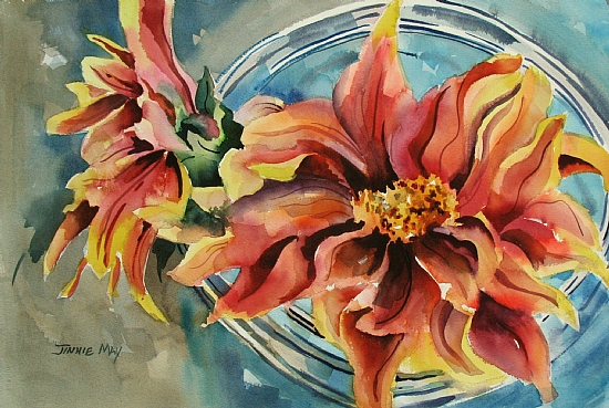 Dahlias by Jinnie May - Watercolor