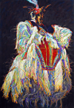 SEMINOLE DANCING by Bill James Pastel ~ 33 x 22