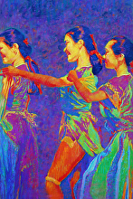 CHINESE FAN DANCE by Bill James Pastel ~ 29 x 18