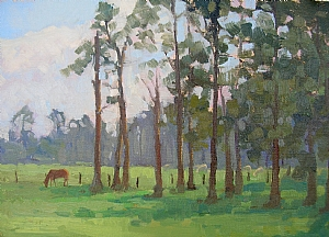 Afternoon Pasture by Katie Dobson Cundiff Oil ~ 9 x 12