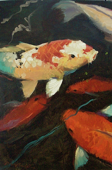 Circling Koi II by Katie Dobson Cundiff Oil ~ 36 x 26