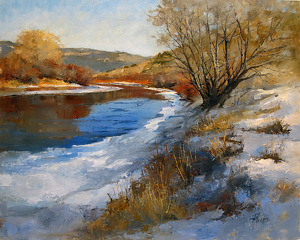 Blue Ice and Red Willows by Peggy Immel Oil ~ 16 x 20