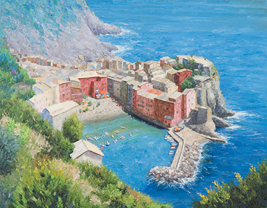 Cliffside View of Vernazza - Oil