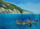 Boats at Monterosso     (2009) by Dan O'Rourke Oil ~ 22 x 28