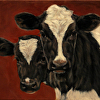 """Hide and Peek""  Holstein Calves Painting, Original Oil"