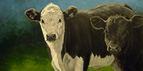 Black Baldy and Angus Calves Painting - Oil