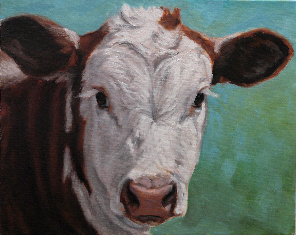 Hereford on Blue Green - Oil