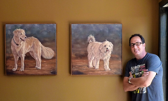 "Haley and Lucky two commissions for Sam (Zien) the Cooking Guy by Denise Rich Oil ~ 24"" x 24"""