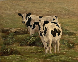 painting of holstein heifers in field
