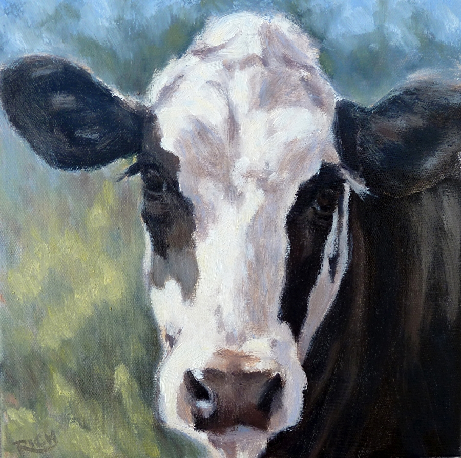 Denise rich work zoom holstein cow in dreamy landscape for Cow painting print