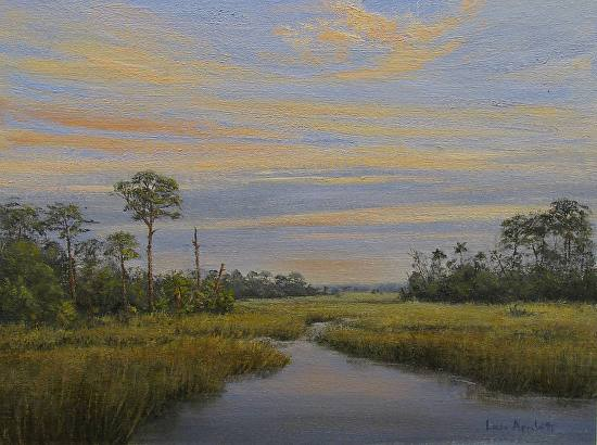 Sunset at Shell Mound - Oil
