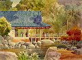"Hiroshi's Tea House by Jim Burns Watercolor ~ 21"" x 29"""