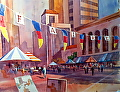 Downtown Art Faire by Jim Burns Watercolor ~ 29 x 21""