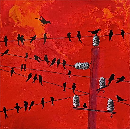 Birds On Wires - Acrylic